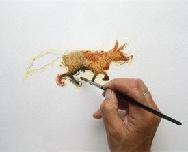 Pintura de zorro cafe