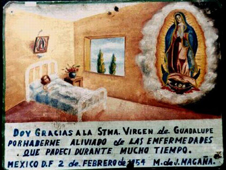 Exvoto a la Virgen de Guadalupe por una sanción.