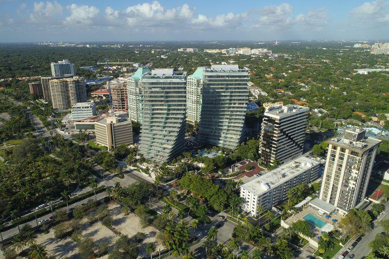 Aerial drone image of Coconut Grove Miami FL
