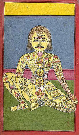 Los chakras según una ilustración de un texto de yoga de la India. 1899.