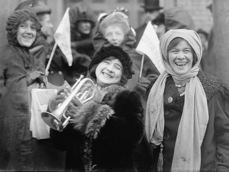 Women suffragists demonstrating for the right to vote in 1913