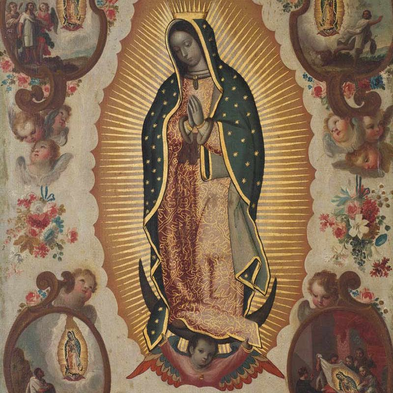 Imagen de la Virgen de Guadalupe con cuatro milagros