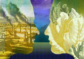Contaminación industrial y el medio ambiente verde (ilustración conceptual)