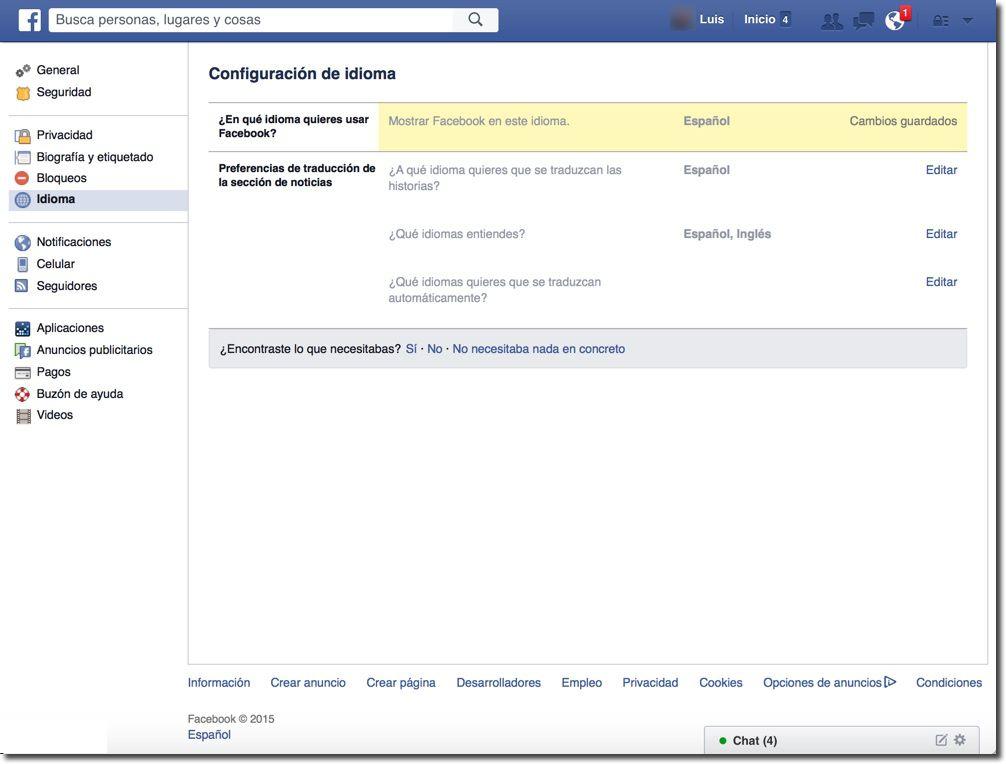 Ahora tu Facebook está en español
