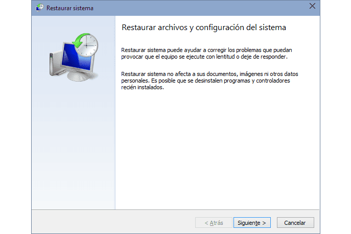Restaurar sistema Windows 10