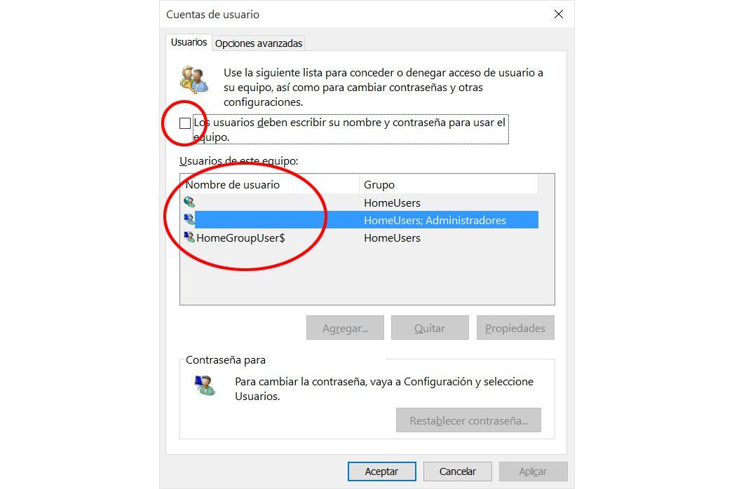 entrar sin contraseña en Windows 10