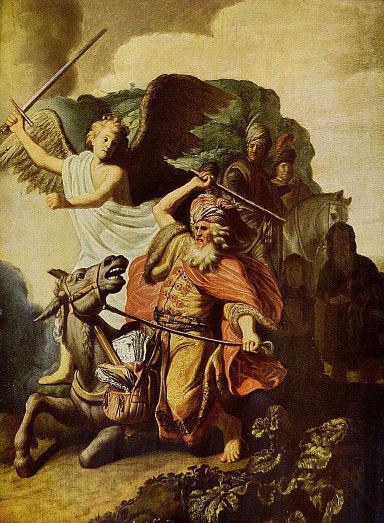 El profeta Balán y la burra, por Rembrandt van Rijn, 1626.