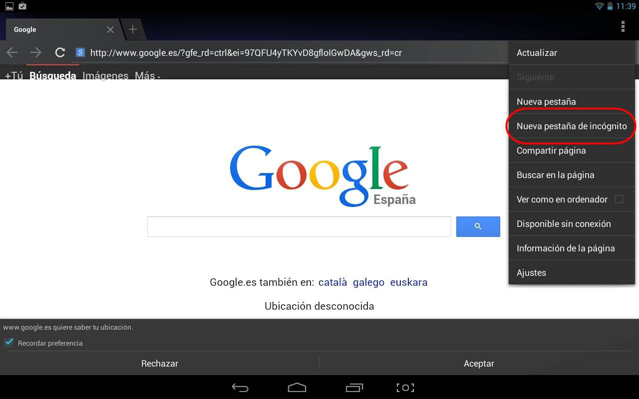 navegar de manera privada en Android