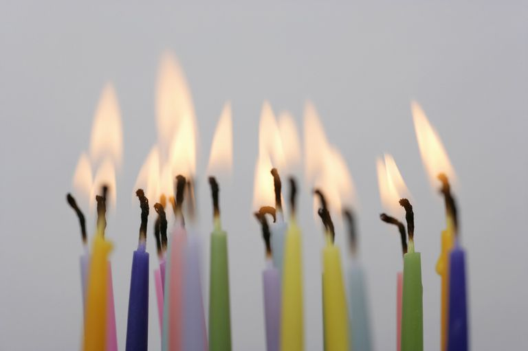 Lit Birthday Candles