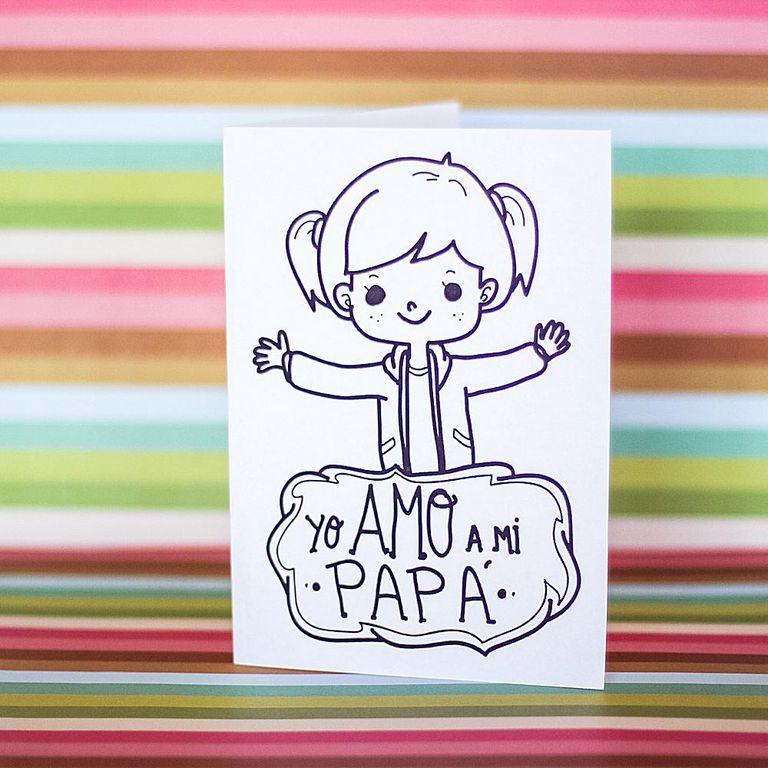 5 tarjetas para colorear y celebrar a papá