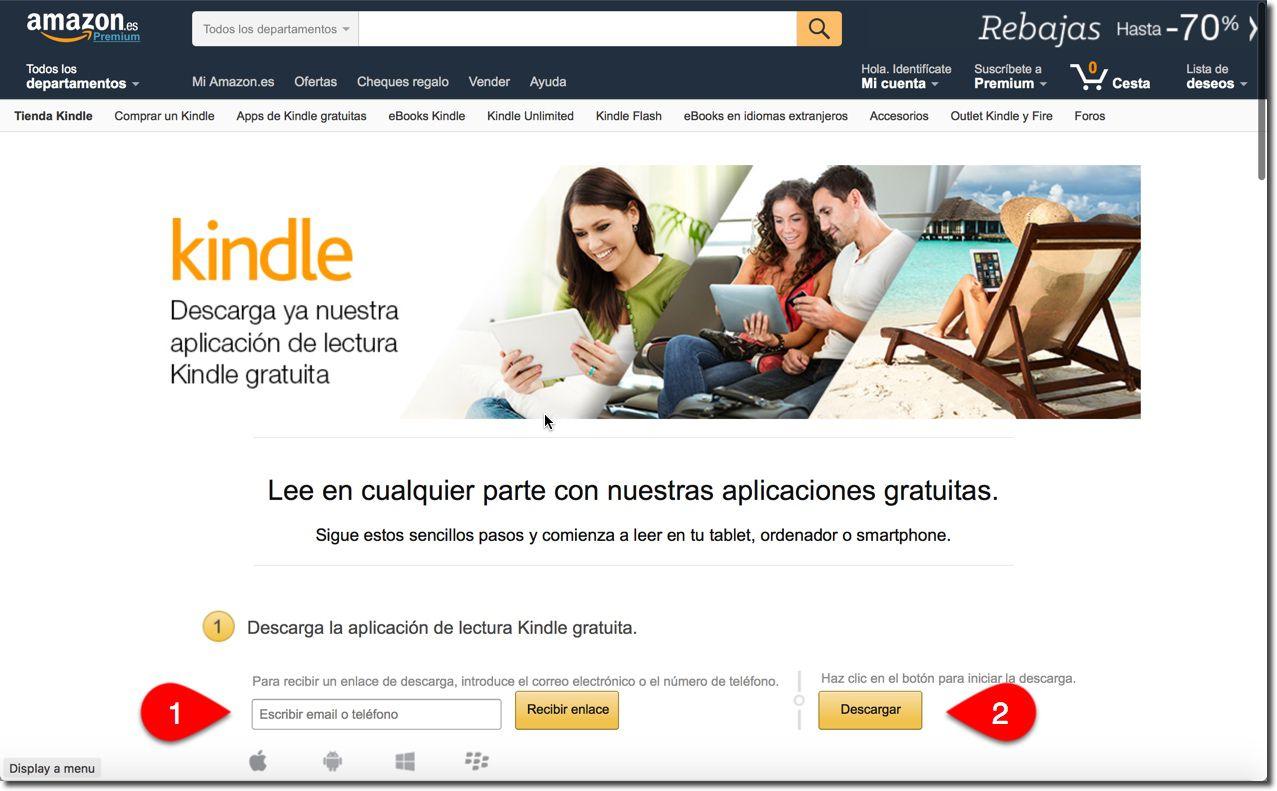 Página de descarga de la aplicación Kindle