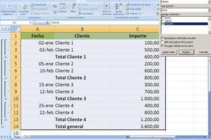 Subtotales en Excel