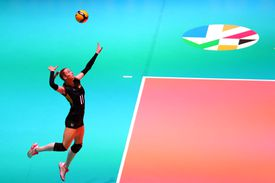 Louisa Lippmann of Germany serves during the Women CEV Tokyo Volleyball European Qualification 2020 match