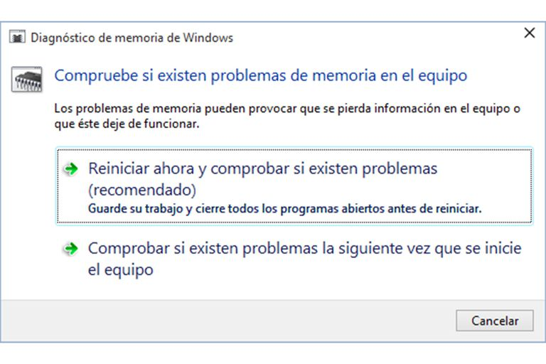 Comprobar memoria RAM Windows 10