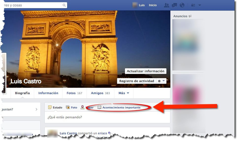 Agregar acontecimientos en Facebook, captura de pantalla