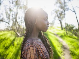 Young woman being mindful