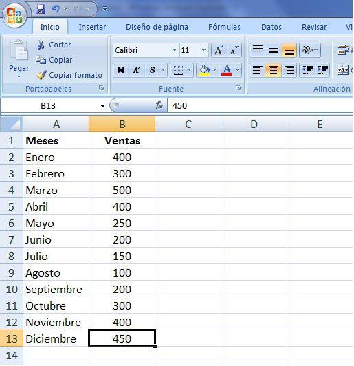 Ejemplo Excel datos ventas