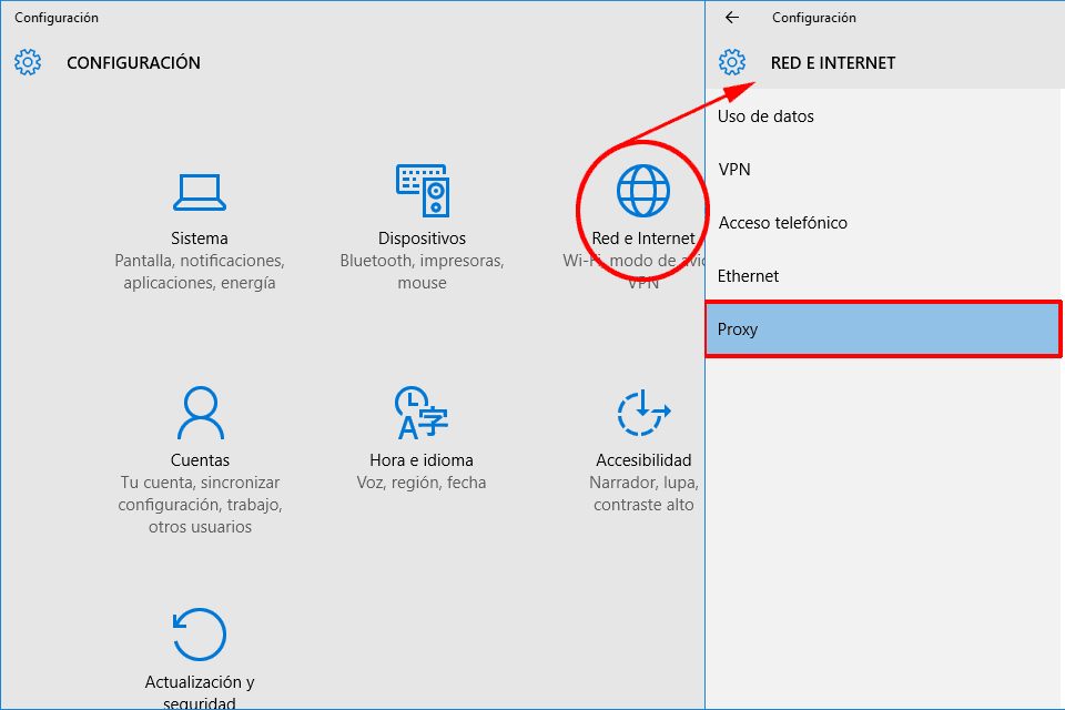 Configurar Proxy Windows10