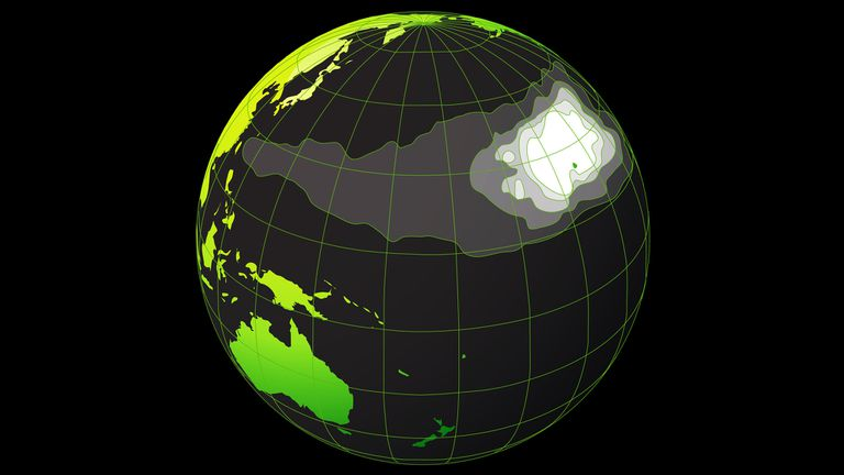 Un mapa muestra el Gran Parche de Basura del Pacífico
