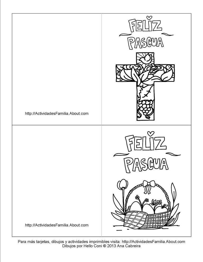 Tarjetas de pascua de resurrección para colorear