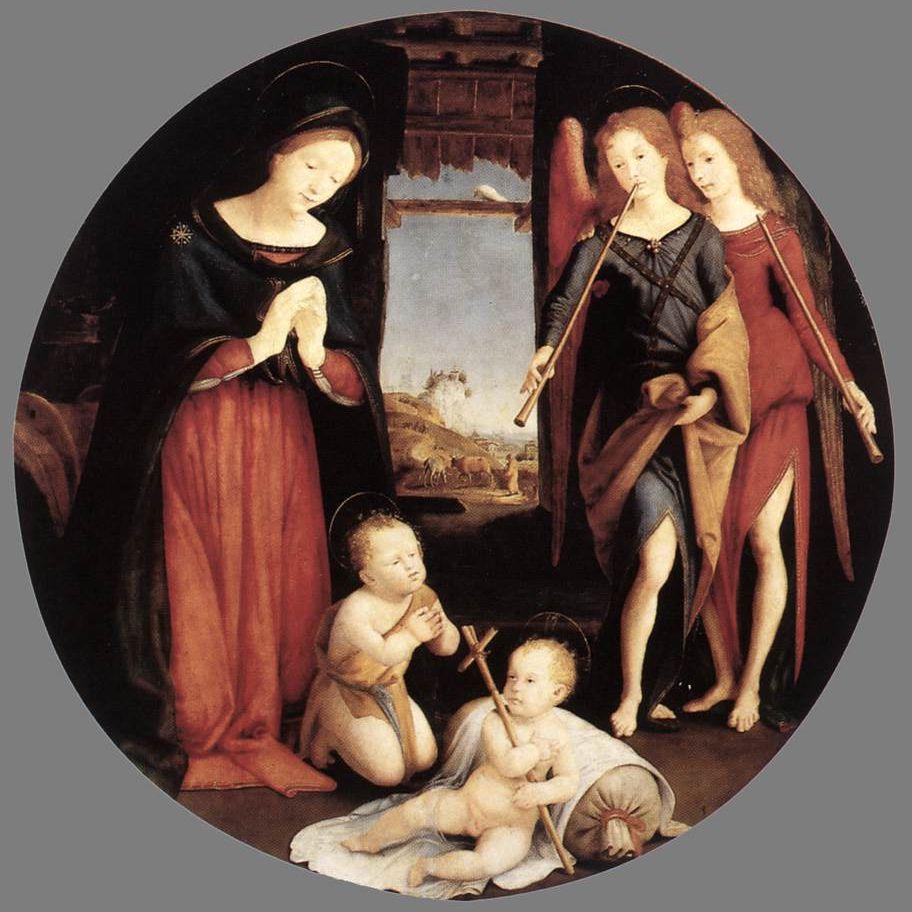 La adoración del niño Cristo por Piero di Cosimo