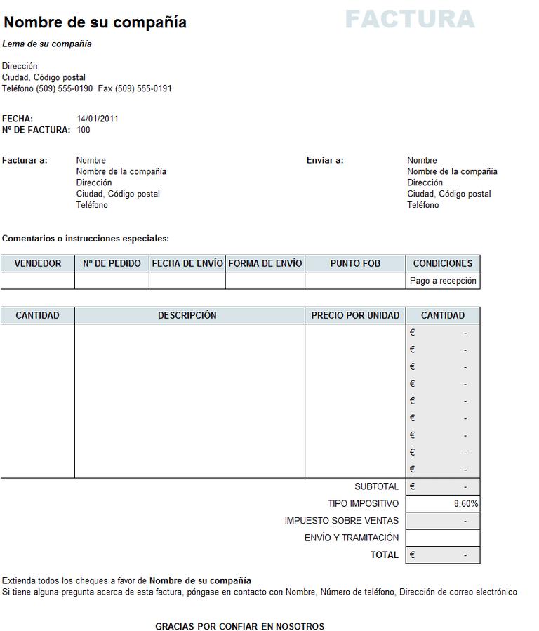 Factura de ventas en Excel
