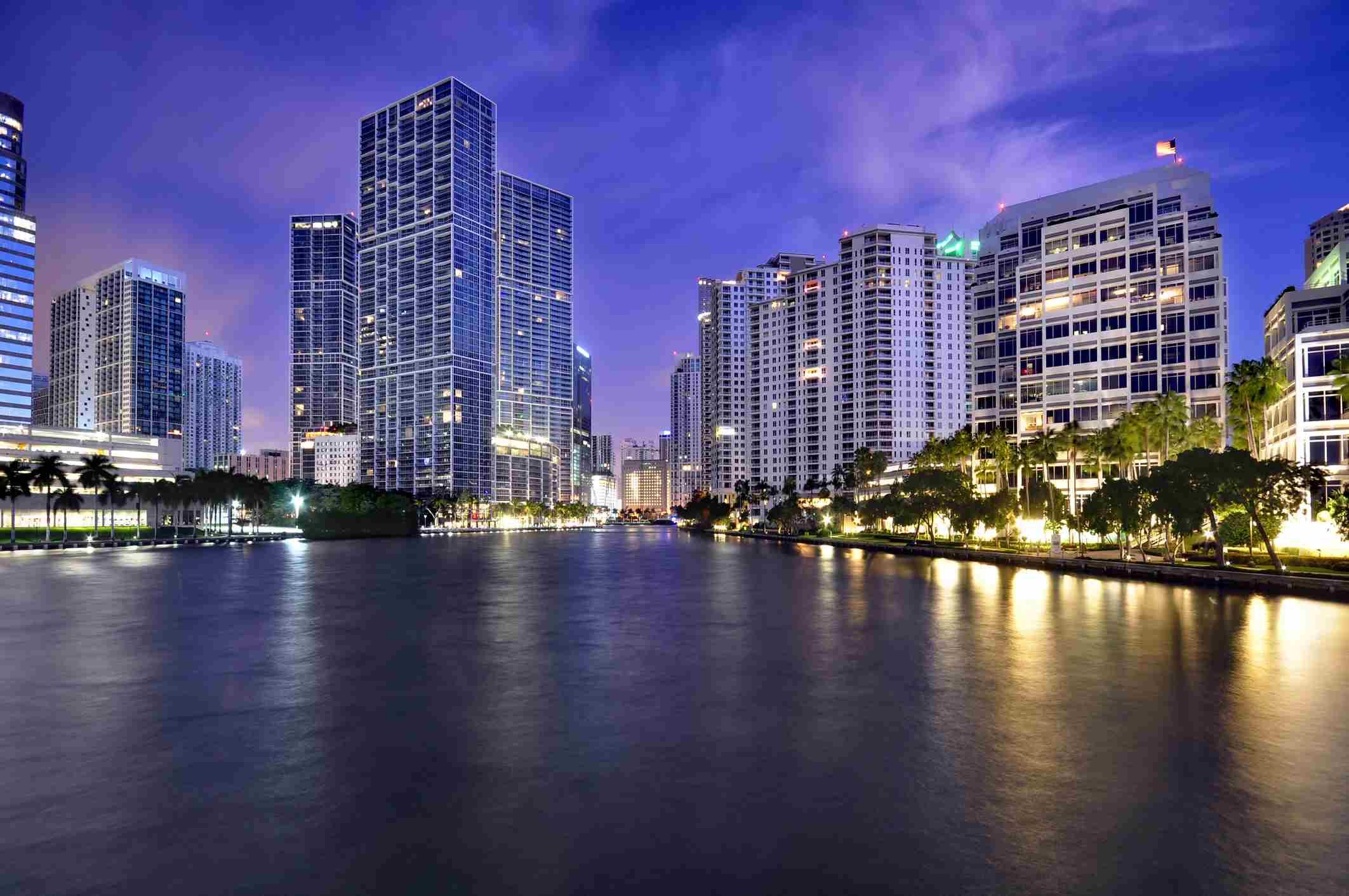 Brickell downtown at dusk, Miami