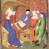 15 frases para entender el feminismo: Christine de Pizan, sentada en su cátedra, leyendo a un grupo de hombres.