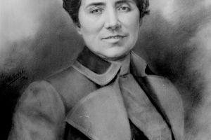 Retrato de Rosalía de Castro.