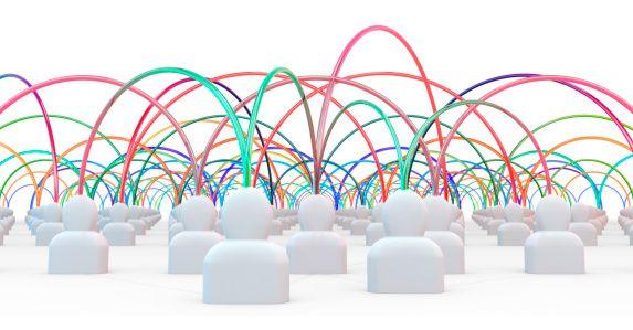 Muñecos con líneas de colores que los interconectan