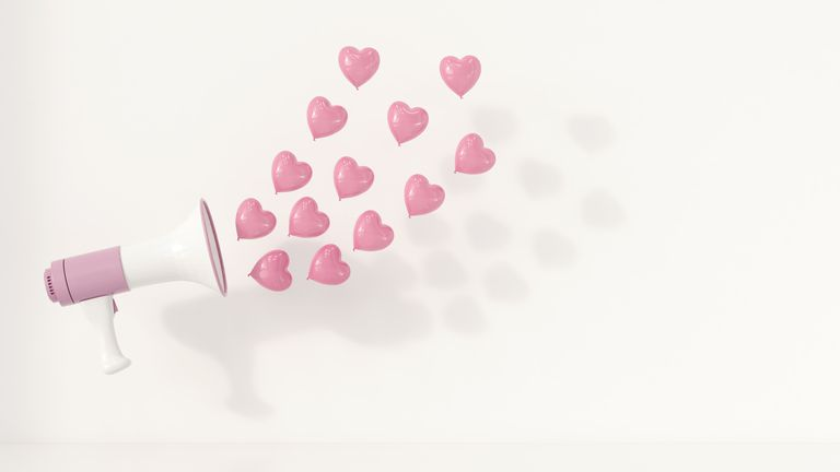 Megaphone with pink heart-shaped balloons as sound waves, 3d rendering