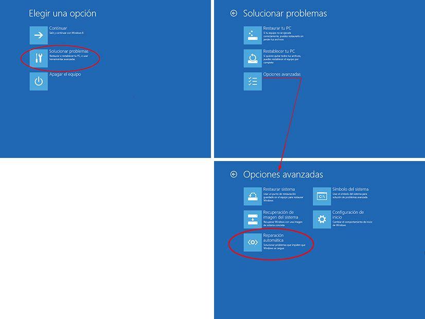 Reparar Automatico Windows 8
