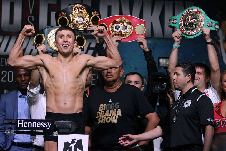 Boxer Gennady Golovkin poses on the scales during a weigh-in with Canelo Alvarez at the MGM Grand Hotel & Casino
