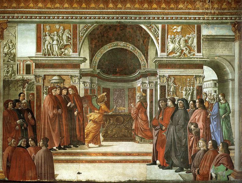Anunciación del ángel a Zacarías por Domenico Ghirlandaio