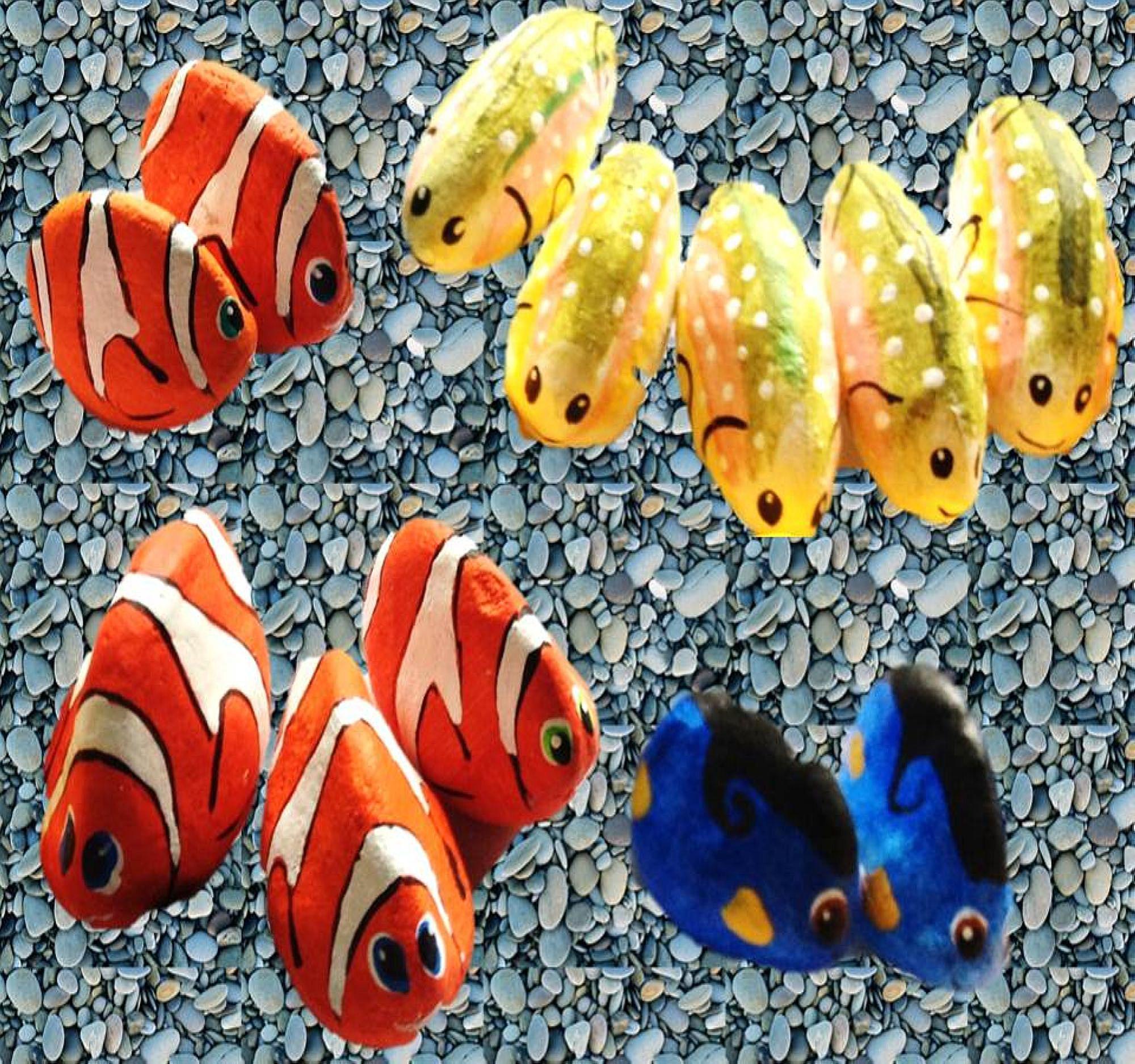 peces pintados en piedras