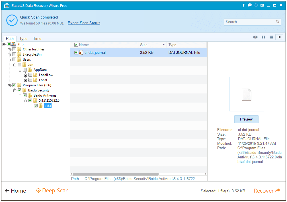 Screenshot of EaseUS Data Recovery Wizard v9.8 in Windows 7
