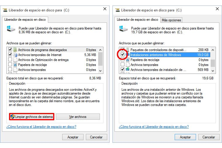 Borrar Windows.old en Windows 10