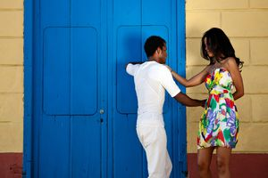 Young couple dancing salsa