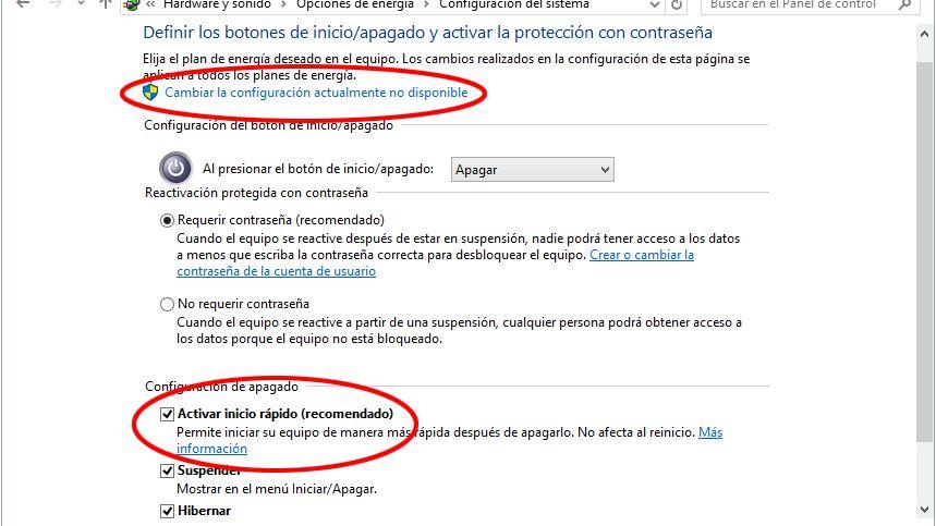 Activar o desactivar el inicio rpido de Windows 10