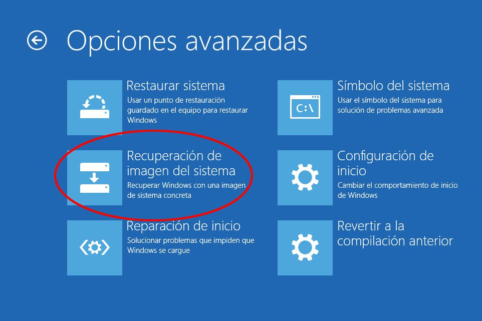 Usar imagen sistema Windows 10