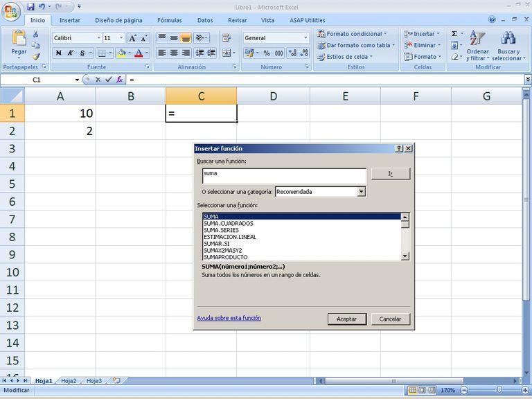 Funciones matematicas en Excel
