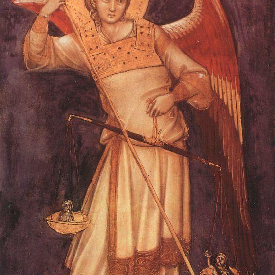 San Miguel Arcángel pesa un alma (1350) por Guariento di Arpo