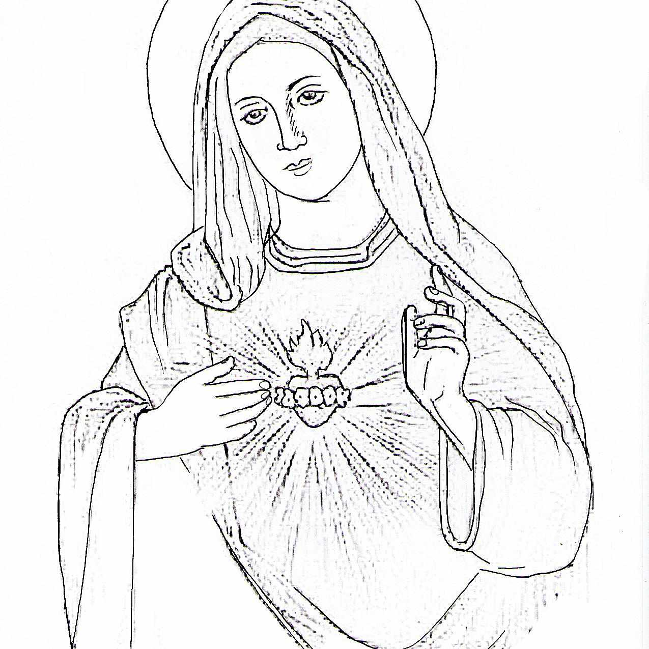Dibujo del Inmaculado Corazón de María