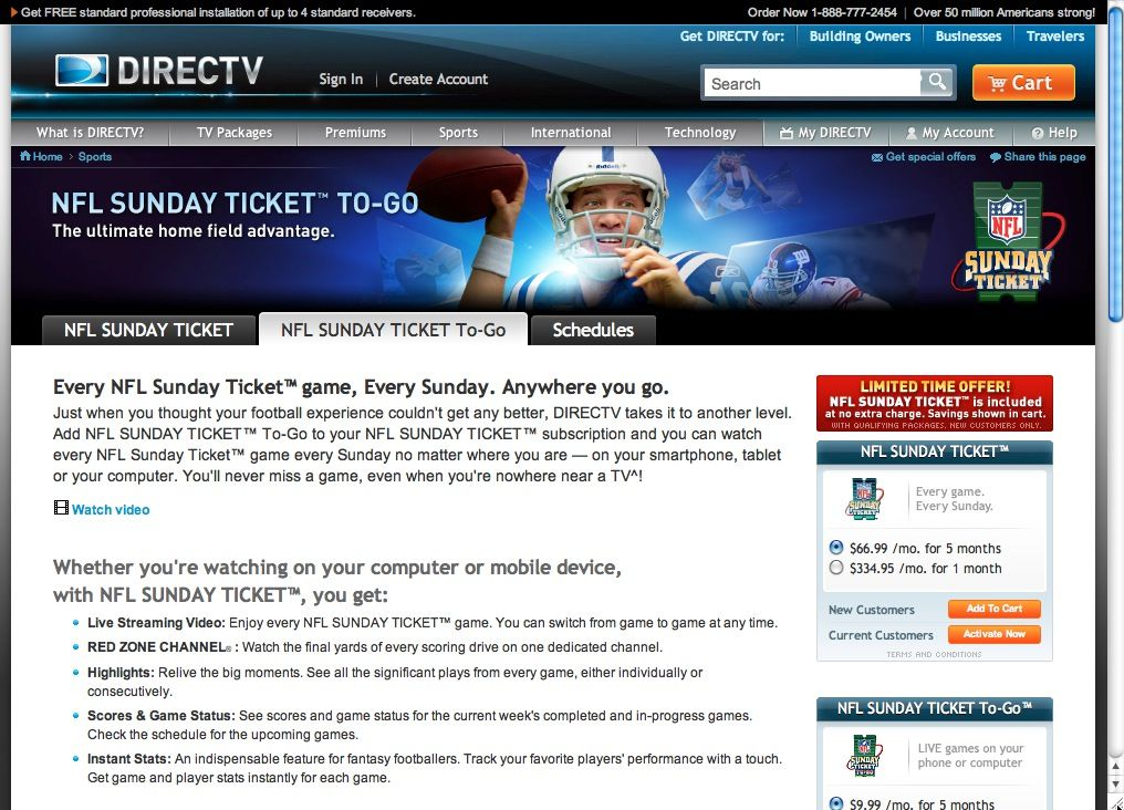 NFL Sunday Ticket To-Go