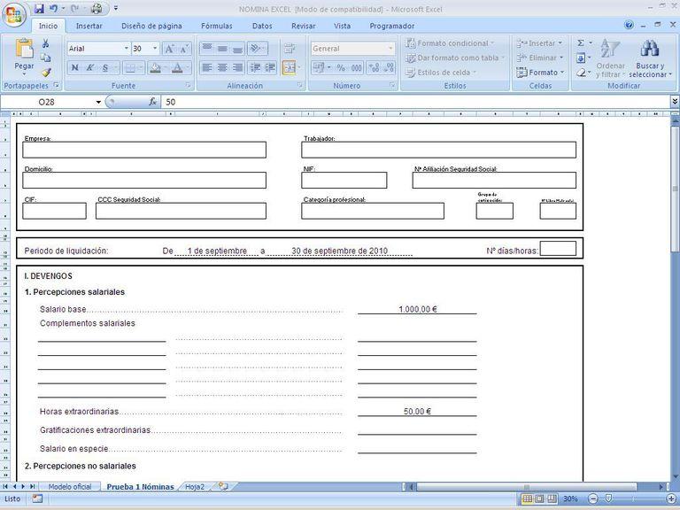 Nomina Recibo salarios Excel