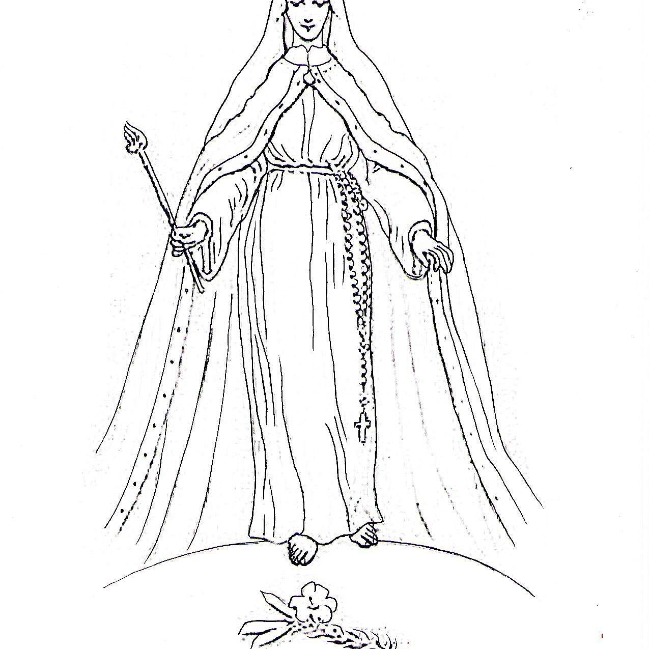 Dibujo de la Virgen María, Reina de los Cielos