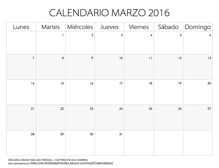 Calendario De Festividades En Marzo