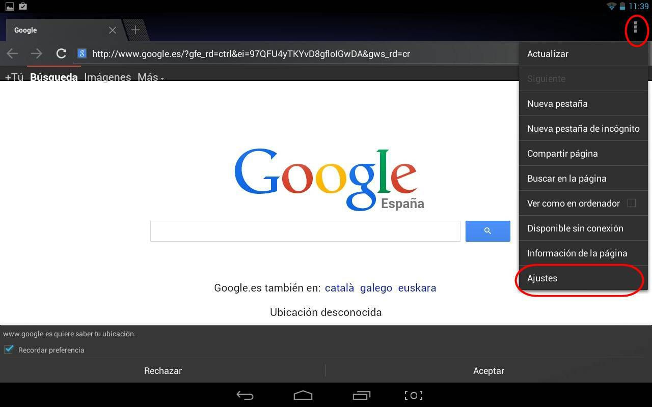 borrar historial de navegador Android, ajustes
