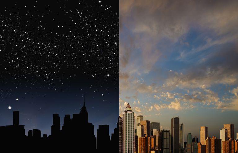 Horizonte de la ciudad por la noche y durante el día
