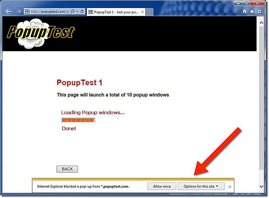 Bloquear popups en Internet Explorer